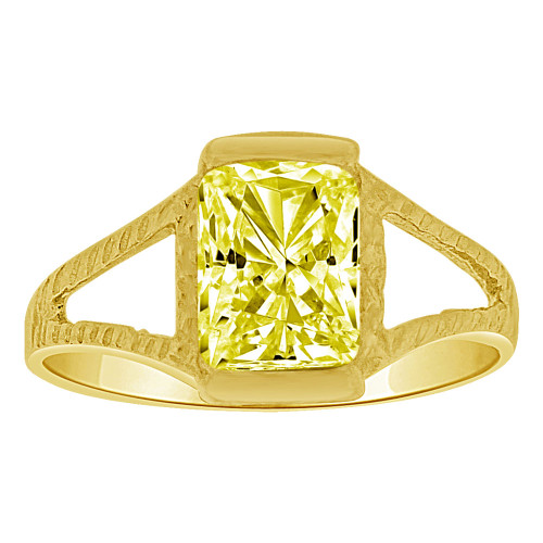 14k Yellow Gold, Small Size Child Ring Adult Pinky Ring Created Rectangular CZ Yellow Crystal (R263-211)