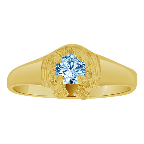14k Yellow Gold, Lucky Horse Shoe Mini Size Child Ring Adult Pinky Ring Created CZ Crystal Aqua Blue (R263-303)