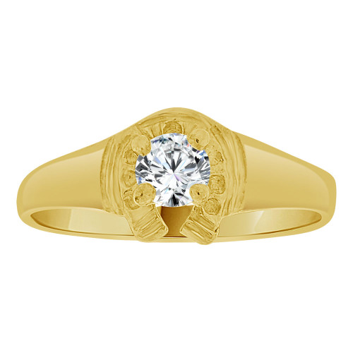 14k Yellow Gold, Lucky Horse Shoe Mini Size Child Ring Adult Pinky Ring Created CZ Crystal (R263-304)