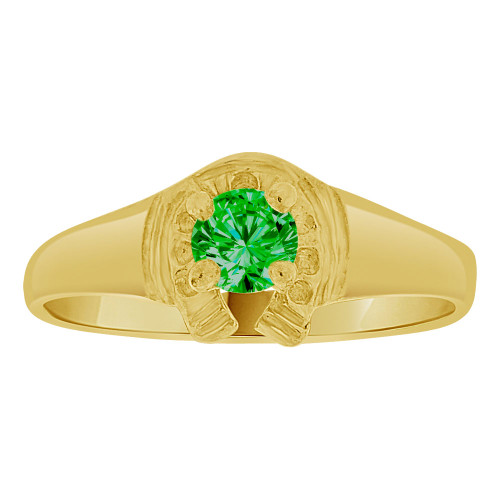 14k Yellow Gold, Lucky Horse Shoe Mini Size Child Ring Adult Pinky Ring Created CZ Crystal Green (R263-305)