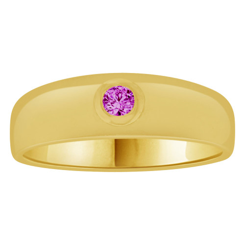 14k Yellow Gold, Small Size Child Band Ring Adult Pinky Ring Created Cubic Zirconia Crystal Purple (R263-702)