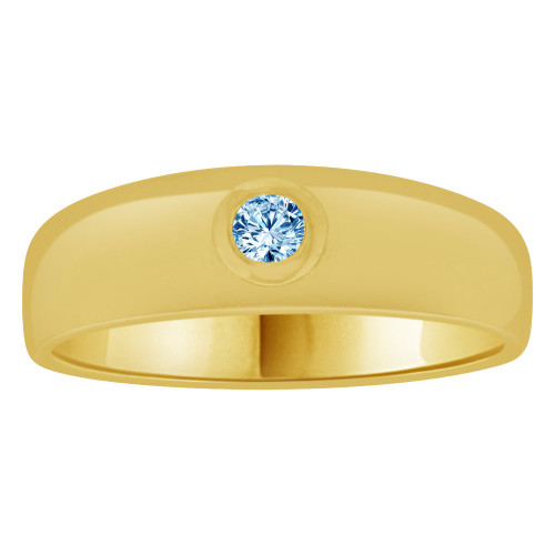 14k Yellow Gold, Small Size Child Band Ring Adult Pinky Ring Created Cubic Zirconia Crystal Aqua Blue (R263-703)