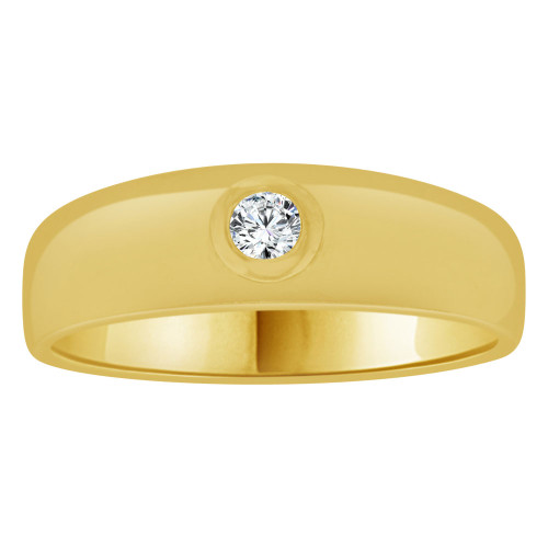 14k Yellow Gold, Small Size Child Band Ring Adult Pinky Ring Created Cubic Zirconia Crystal (R263-704)