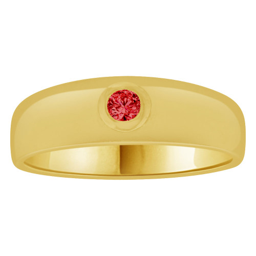 14k Yellow Gold, Small Size Child Band Ring Adult Pinky Ring Created Cubic Zirconia Crystal Red (R263-707)