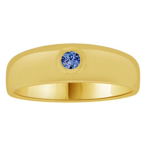 14k Yellow Gold, Small Size Child Band Ring Adult Pinky Ring Created Cubic Zirconia Crystal Dark Blue (R263-709)