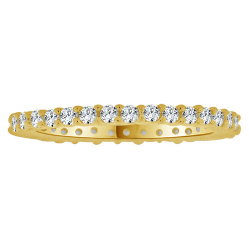 14k Yellow Gold, Eternity Setting Child Toe Pinky Ring Created Cubic Zirconia Crystals (R265-000)