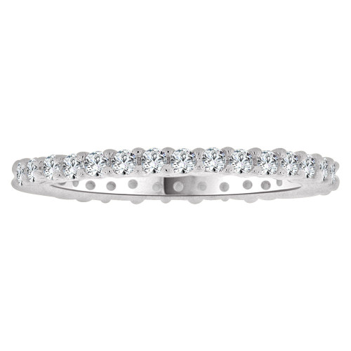 14k White Gold, Eternity Setting Child Toe Pinky Ring Created Cubic Zirconia Crystals (R265-050)