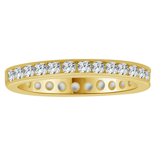 14k Yellow Gold, Dainty Eternity Setting Child Toe Pinky Ring Created Cubic Zirconia Crystals (R266-000)