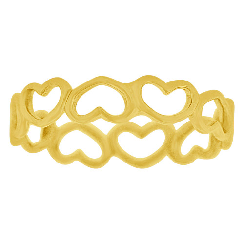 14k Yellow Gold, Dainty Eternity Hearts Design Band Child Pinky Toe Ring (R268-00Y)