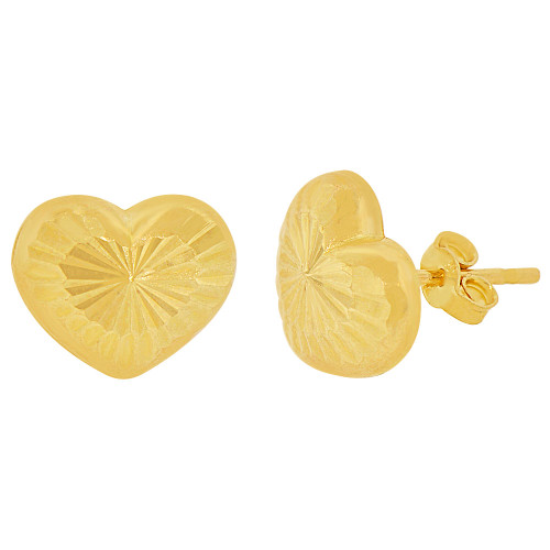 14K Yellow Gold, Heart Shape Sparkly Cut Push Back Stud Earring 10mm (E001-033)