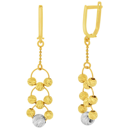 14k Yellow and White Gold, Disco Ball Beads Drop Earring Click Hinge (E002-029)