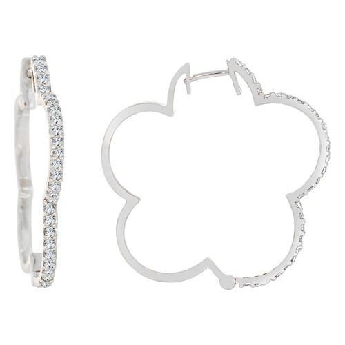 14k Gold White Rhodium, Fancy Flower Outline Shaped Hoop Earring Created CZ Crystals (E002-065)