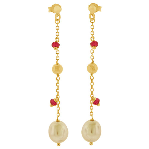 14k Yellow Gold, Dangling Earring Genuine Fresh Water Cultured Pearls & Red Crystals (E003-100)