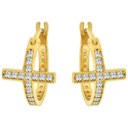 14k Yellow Gold, Cross Religious Huggies Hoop Earring Created CZ Crystals (E004-042)