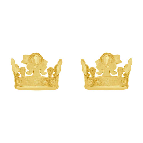14k Yellow Gold, Crown Tiara Stud Earring Push Back Post (E004-043)