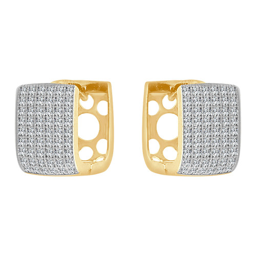 14k Yellow Gold White Rhodium, Huggies Cuff Style Hoop Earrings Created CZ Crystals (E004-045)
