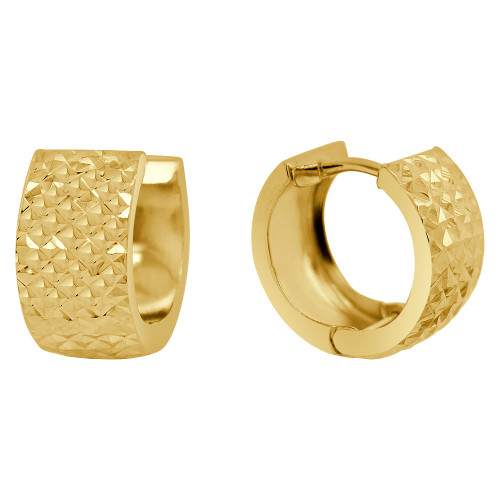 14k Yellow Gold, Classic Small Hoop Huggies Earring Facetted 14mm Diameter (E004-047)