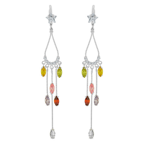14k Gold White Rhodium, Long Drop Chandelier Earring Colorful Created CZ Crystals (E005-X59)