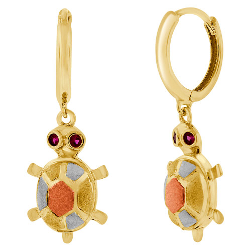 14k Tricolor Gold, Turtle Tortoise Dangling Earring Lab Created Gems (E008-001)