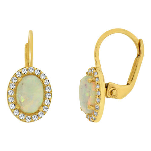 14k Yellow Gold, Faux Created Opal & Created CZ Crystals Oval Earring Clip Back (E008-031)