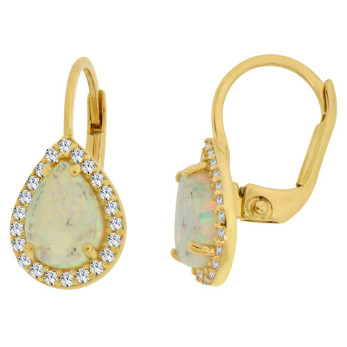 14k Yellow Gold, Faux Created Opal & Created CZ Crystals Pear Shape Earring Clip Back (E008-032)