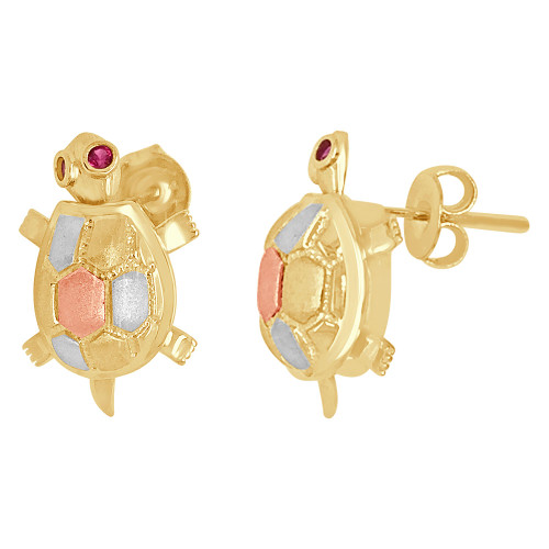 14k Tricolor Gold, Turtle Tortoise Stud Earring Lab Created Gems 18mm Tall (E009-012)