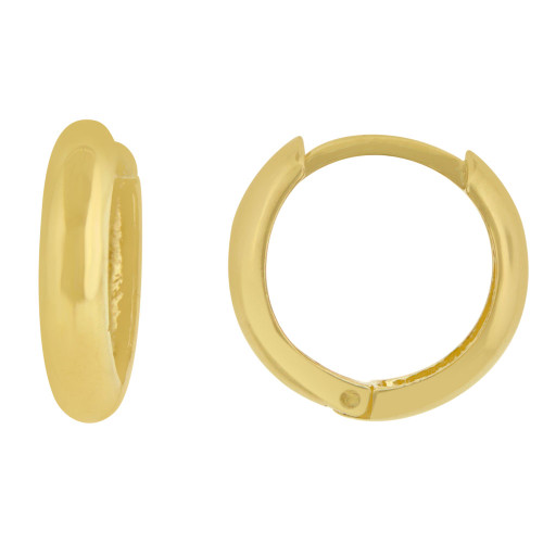 14k Yellow Gold, Plain Polished Small Hoop Huggies Style Earring 15mm Diameter (E009-033)