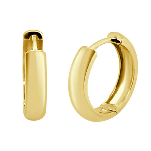 14k Yellow Gold, Plain Polished Small Hoop Huggies Style Earring 16mm Diameter (E009-037)