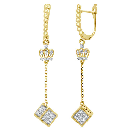 14k Yellow Gold, Crown Tiara Dice Dangling Earring Created CZ Crystals (E013-021)