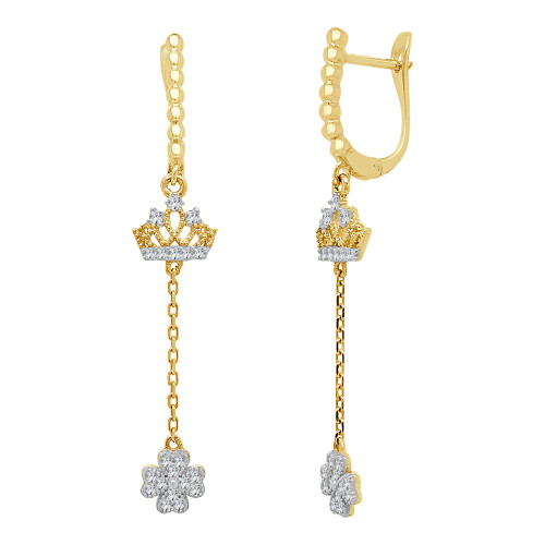 14k Yellow Gold, Crown Tiara Clover Dangling Earring Created CZ Crystals (E013-022)