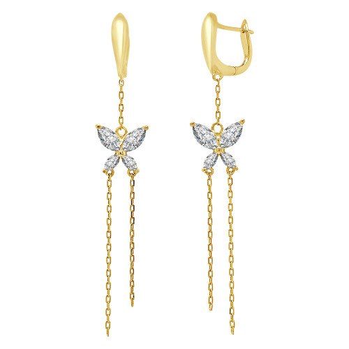 14k Yellow Gold, Double Butterfly Dangling Earring Created CZ Crystals (E013-025)