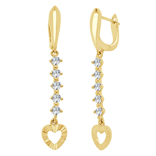14k Yellow Gold, Heart Drop Dangling Earring Lab Created CZ Crystals (E013-026)