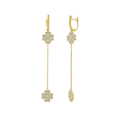 14k Yellow Gold, Double Clover Dangling Earring Created CZ Crystals (E013-029)