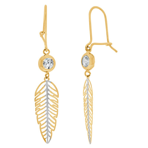 14k Yellow Gold White Rhodium, Fancy Leaf Dangling Earring Created CZ Crystals (E015-041)