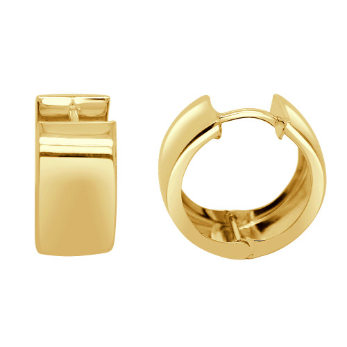 14k Yellow Gold, Wide Hoop Huggies Earring Polished 8mm Wide (E016-041)