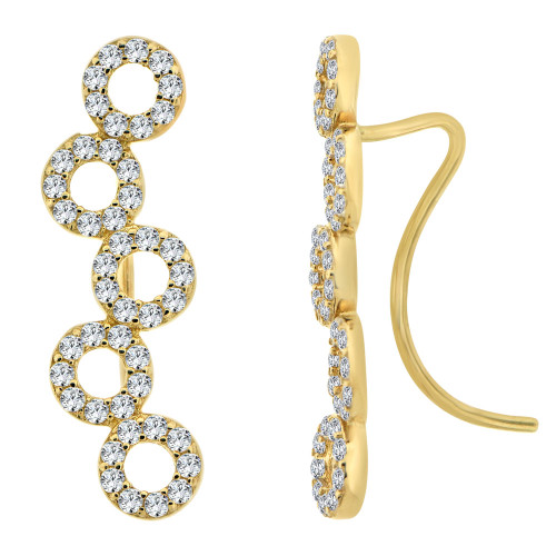 14k Yellow Gold, Connected Circle of Life Climber Earring Created CZ Crystals (E020-031)