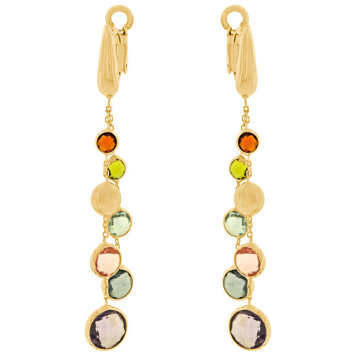 14k Yellow Gold, Dangling Genuine Colorful Topaz Earring Lever Back (E022-040)
