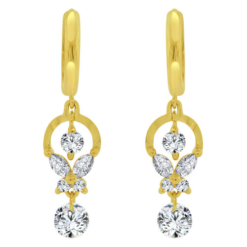 14k Yellow Gold, Abstract Drop Earring Brilliant Created CZ Crystals (E023-024)