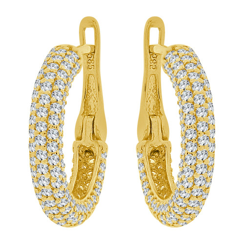 14k Yellow Gold, Lever Back Hoop Earring Created CZ Crystals 18mm Diameter (E023-032)