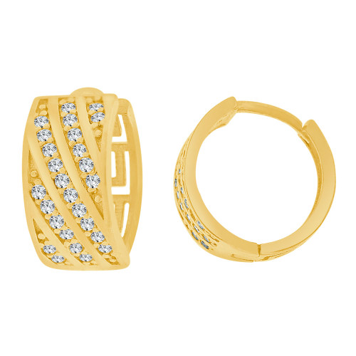 14k Yellow Gold, Small Hoop Huggies Earring Created CZ Crystals 5.5mm Wide (E023-037)