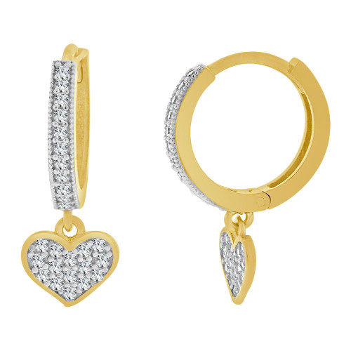 14k Yellow Gold White Rhodium, Small Heart Huggies Earring Created CZ Crystals 7mm Wide (E023-038)