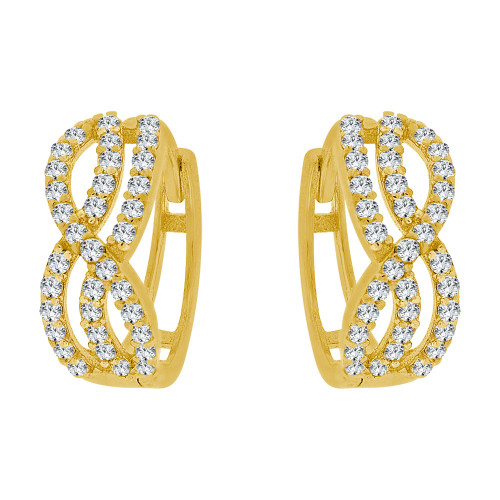14k Yellow Gold, Abstract Hoop Huggies Earring Created CZ Crystals 5.5mm Wide (E023-039)