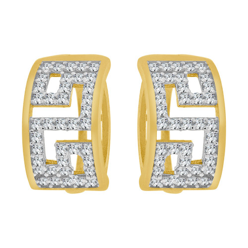 14k Yellow Gold, Abstract Hoop Huggies Earring Created CZ Crystals 6mm Wide (E023-040)