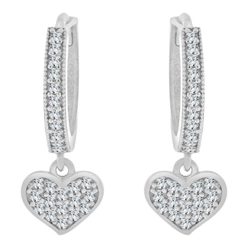 14k Gold White Rhodium, Small Heart Huggies Earring Created CZ Crystals 7mm Wide (E023-088)