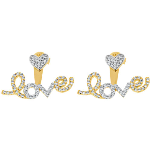 14k Yellow Gold White Rhodium, LOVE Dangling Earring Created CZ Crystals Push Back (E024-034)