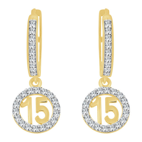 14k Yellow Gold White Rhodium, Quinceanera 15 Anos Drop Earring Created CZ Crystals (E025-033)