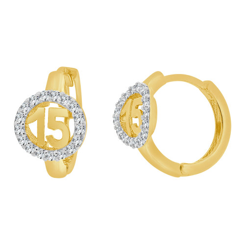 14k Yellow Gold White Rhodium, Quinceanera 15 Anos Mini Hoop Huggies Earring Created CZ Crystals (E025-034)
