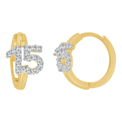 14k Yellow Gold White Rhodium, Quinceanera 15 Anos Mini Hoop Huggies Earring Created CZ Crystals (E025-039)