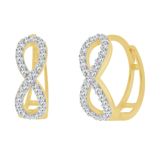 14k Yellow Gold, Figure 8 Infinity Mini Hoop Huggies Earring Created CZ Crystals 5mm Wide (E025-040)
