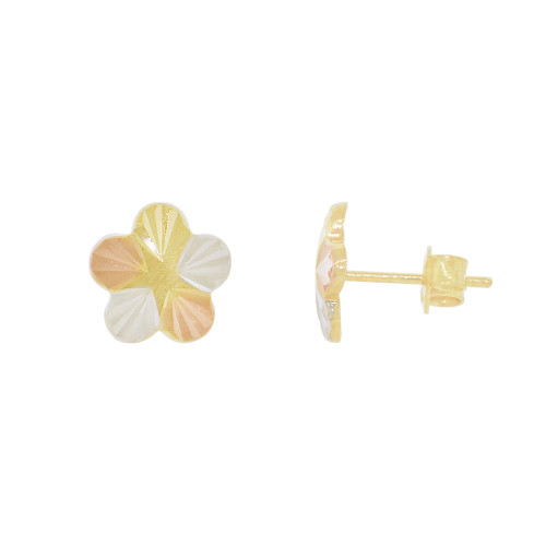 14k Yellow Gold Rose & White Rhodium, Flower Stud Push Back Earring 10mm Wide (E026-034)